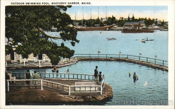 Outdoor swimming pool boothbay harbor me postcard for Public swimming pools locations maine