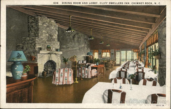 Cliff Dwellers Inn - Dining Room and Lobby Chimney Rock North Carolina