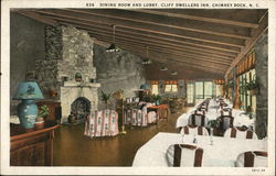 Cliff Dwellers Inn - Dining Room and Lobby Postcard