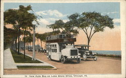 New Auto Bus on Lake Shore Drive Postcard