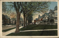 Residence Section, Main Street Postcard