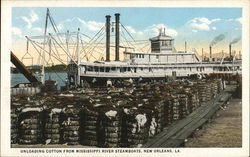 Unloading Cotton from Mississippi River Steamboats
