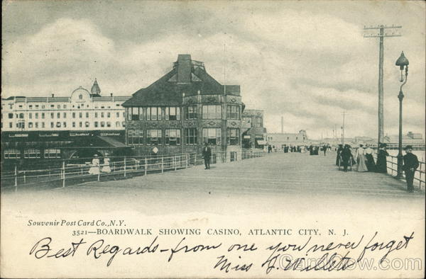 Boardwalk showing Casino Atlantic City New Jersey