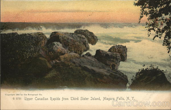 Upper Canadian Rapids from Third Sister Island Niagara Falls New York