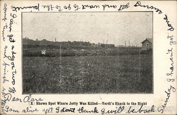 (X) Shows Spot Where John Jetty Was Killed, Verdi's Shack to the Right Auburn New York