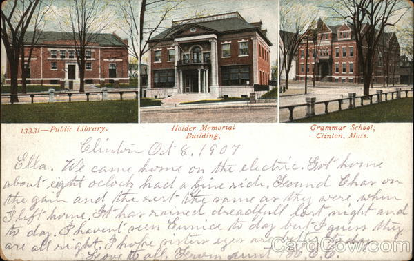 Public Library, Holder Memorial Building and Grammar School Clinton Massachusetts