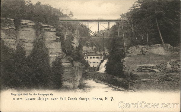 Lower Bridge over Fall Creek Gorge Ithaca New York