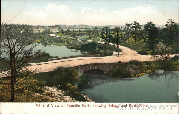 General View of Franklin Park, Showing Bridge and Duck Pond Boston Massachusetts