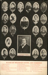 21 Wives of Brigham Young and Himself Postcard