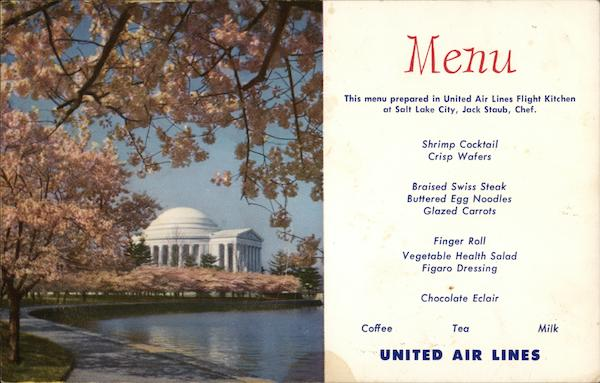 United Airlines Menu & Jefferson Memorial Airline Advertising
