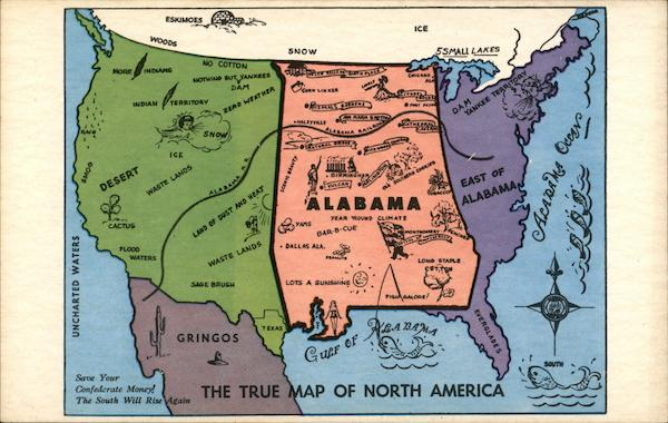 Alabama - The True Map Of North America Maps