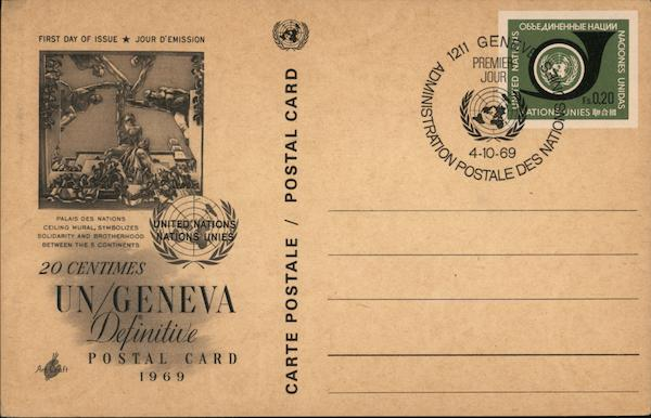 20 Centimes UN/Geneva Definitive Postal Card Switzerland