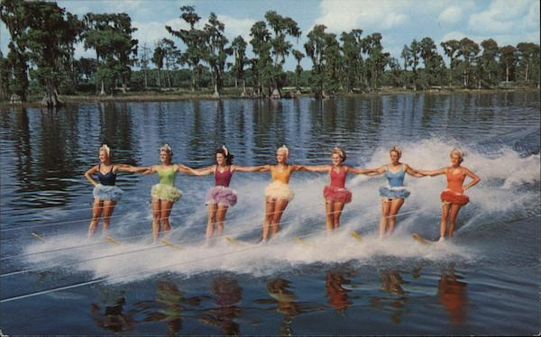 Color and Beauty on Water Skis Cypress Gardens Florida
