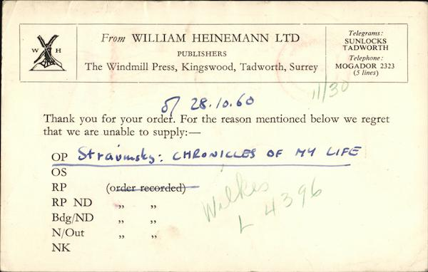 Thank You For Your Order, Willima Heinemann Ltd. Tadworth England