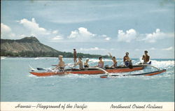 Hawaii - Playground of the Pacific Outrigger Canoe Postcard