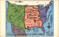 Alabama - The True Map Of North America Postcard