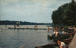 Boat Dock and Beach at Vails Grove, Peach Lake