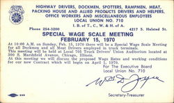 Special Wage Scale Meeting Postcard