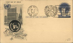 United Nations New York First Day of Issue July 18, 1952
