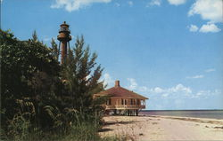 View of Lighthouse Point on Tropical Island