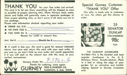 Thank You For Your Order, Gurney Seed & Nursery Co.