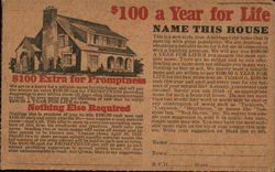 $100 a Year For Life Postcard