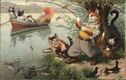 Cats Rowing and Fishing on a Lake
