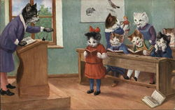 Cats in a Classroom with Cross Cat Teacher