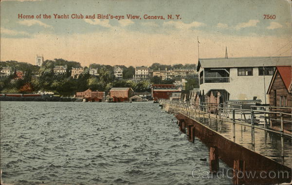 Yacht Club and Bird's Eye View of Town Geneva New York