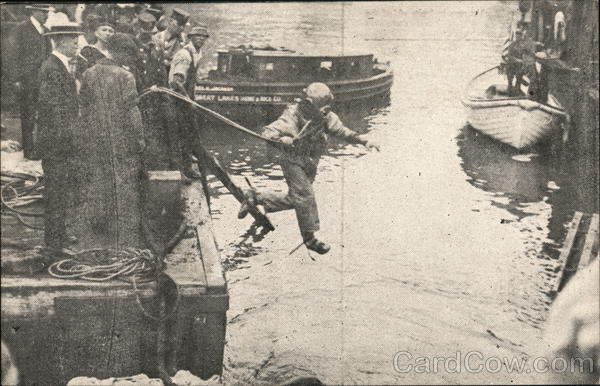 First Survivors Leaving Upturned Side of Boat Chicago Illinois