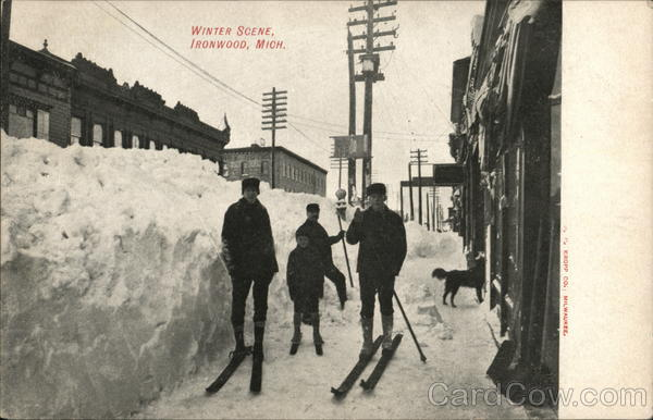 Boys in Skis, Winter Scene Ironwood Michigan