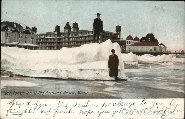 Men Standing by Ice Formation Old Orchard Beach Maine