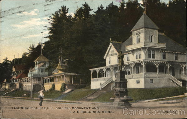 Soldiers Monument and G.A.R.Buildings, Weirs Lake Winnipesaukee New Hampshire