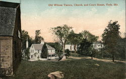 Old Wilcox Tavern, Church and Court House Postcard