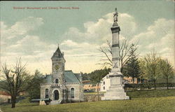 Soldiers' Monument and Library Postcard