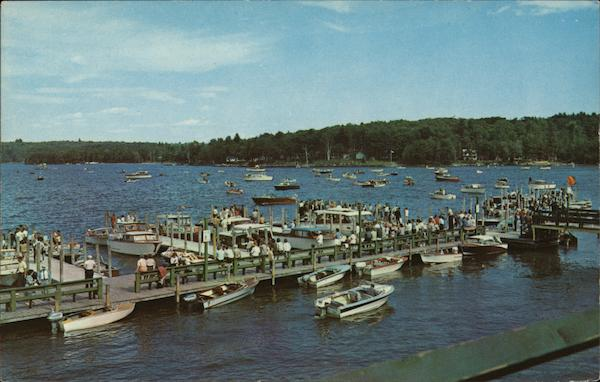 Aerial View of Boats and Dock Weirs Beach New Hampshire