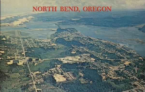 Aerial View of Town North Bend Oregon Ward Robertson