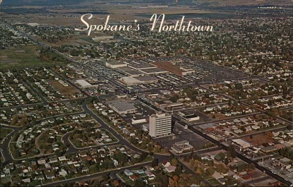 Aerial view of City Spokane Washington