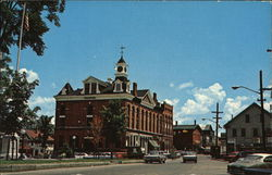 Town Hall, Business Block & Square Postcard