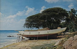Boat Building at Paget Farm on Bequia Postcard