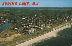 Aerial View of Town and Beach Postcard