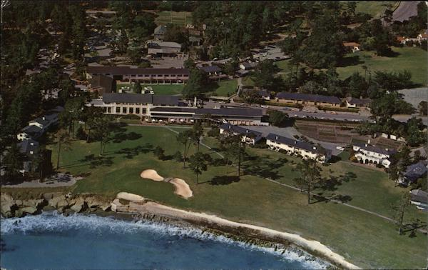 Aerial View of 18th Hole and Lodge Pebble Beach California