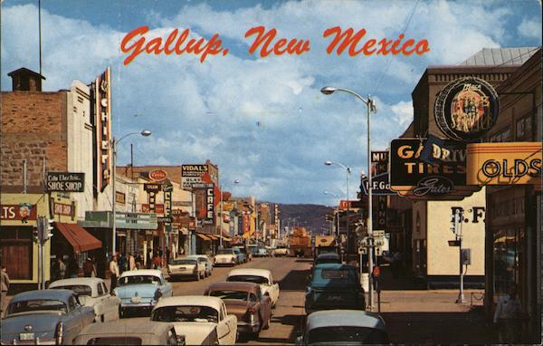 Looking East through Downtown on U.S. Highway 66 Gallup New Mexico