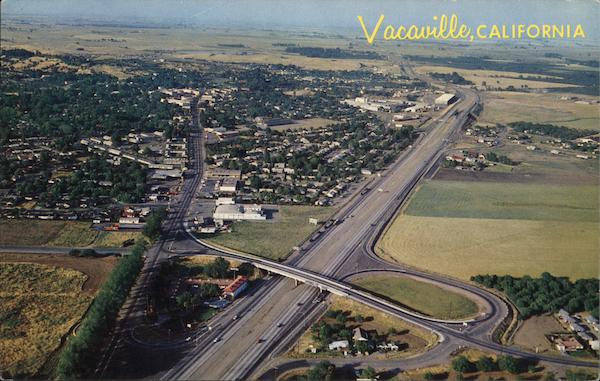 Aerial view of town vacaville ca postcard for Vacaville weather