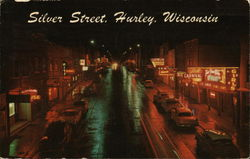 View of Silver Street at Night Postcard