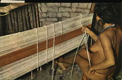 Nude Indian Woman Weaving