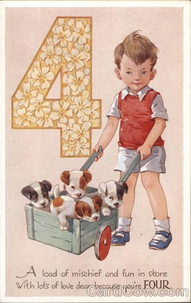 "Boy With Four Puppies in Wagon and Number ""4"""