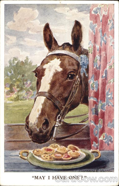 May I Have One? - Horse Eating Plate of Cookies Florence E. Valter