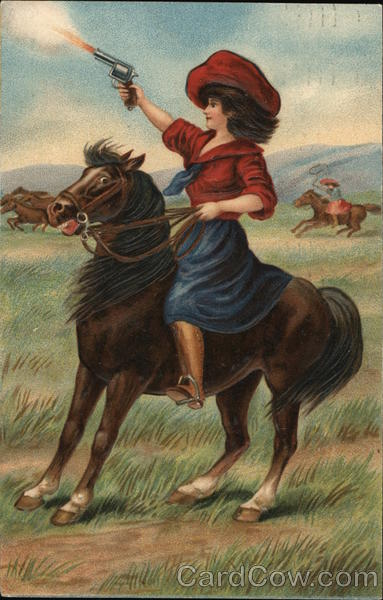 Woman on a Horse Shooting a Gun Cowboy Western