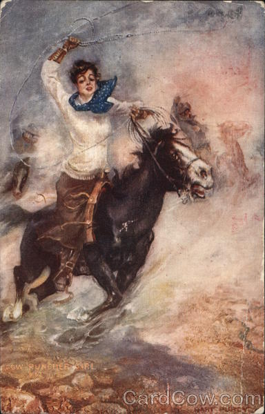 A Woman Riding on a Horse Cowboy Western